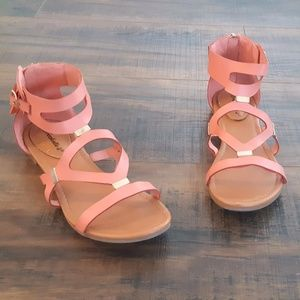 Coral Leatherette gladiator Sandals - Never worn